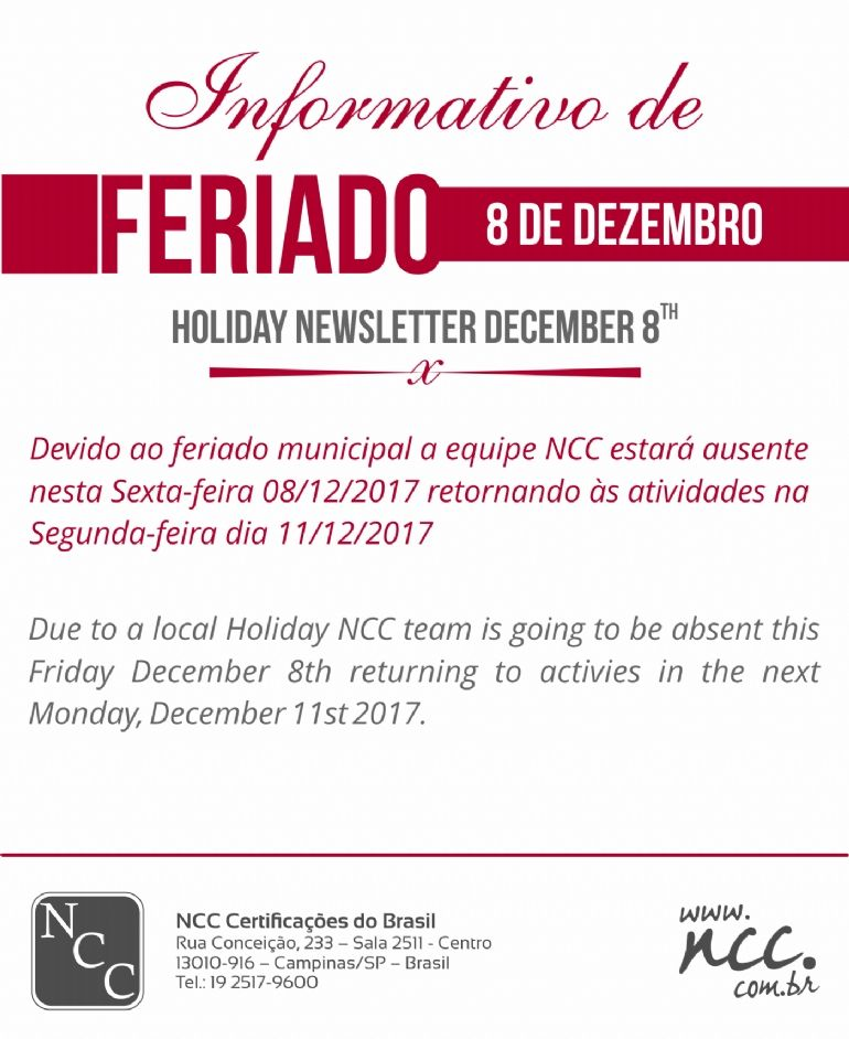 NCC NEWS - LOCAL HOLIDAY - DECEMBER 8TH, 2017