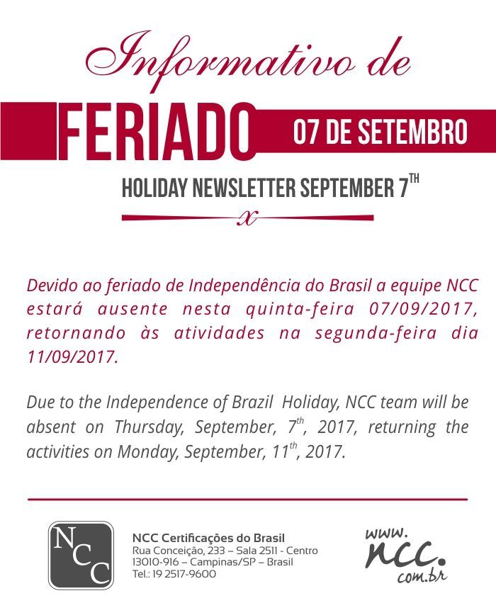 NCC NEWS - BRAZIL INDEPENDENCE HOLIDAY - 2017